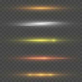 Conjunto de flashes, luzes transparentes.