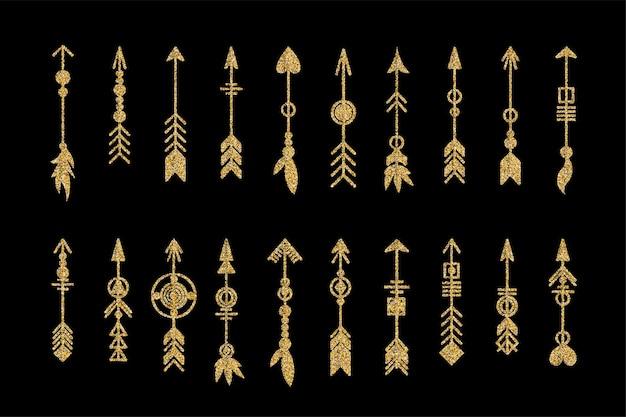 Conjunto de flecha de ouro. coleção de elementos tribais. coleção de joias geométricas na moda hipster. elementos de desenho vetorial.