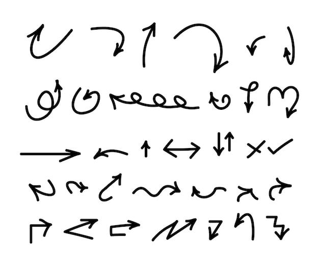 Conjunto de flecha desenhada de mão negra. coleção de setas abstratas. coleção da web de setas de esboço. ícone de seta do vetor.