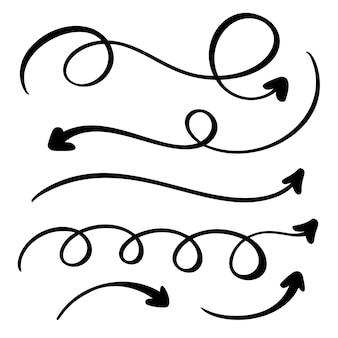 Conjunto de flechas decorativas vintage de arte caligrafia floreio