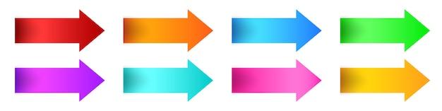 Conjunto de flechas setas brilhantes coloridas.