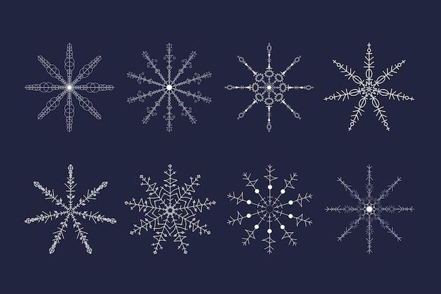 Conjunto de floco de neve branco lindo para design de inverno de natal. coleção de vetores para decoração festiva