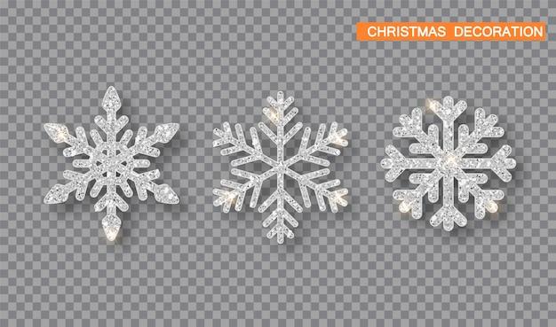 Conjunto de floco de neve glitter prata.