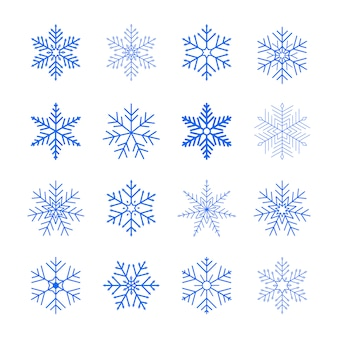 Conjunto de flocos de neve azuis. ícones de neve plana. ornamento de ano novo.