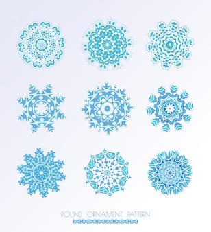 Conjunto de flocos de neve azuis.