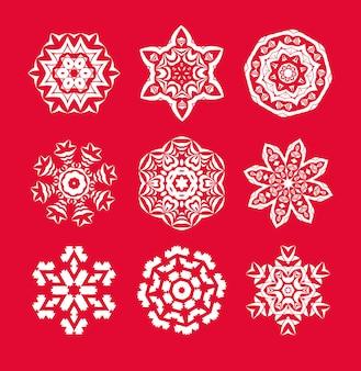 Conjunto de flocos de neve branca de natal