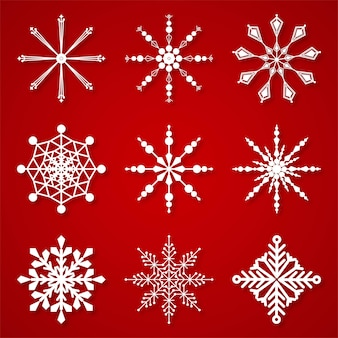 Conjunto de flocos de neve de inverno bonito elementos