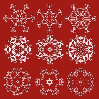 Conjunto de flocos de neve de natal decorativo