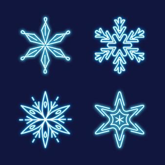 Conjunto de flocos de neve de néon