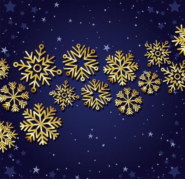 Conjunto de flocos de neve de ouro sobre fundo azul escuro.
