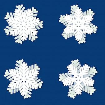 Conjunto de flocos de neve de papel de natal branco e azul