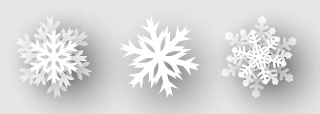Conjunto de flocos de neve de papel. ilustração.