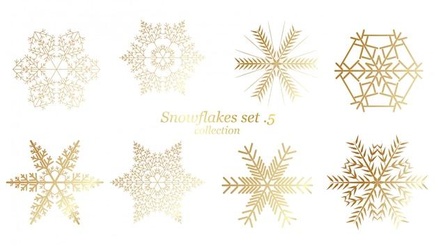 Conjunto de flocos de neve de vetor natal com cor de ouro de luxo