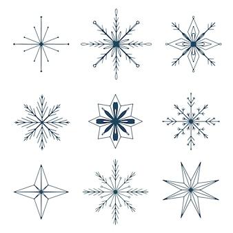 Conjunto de flocos de neve decorativos