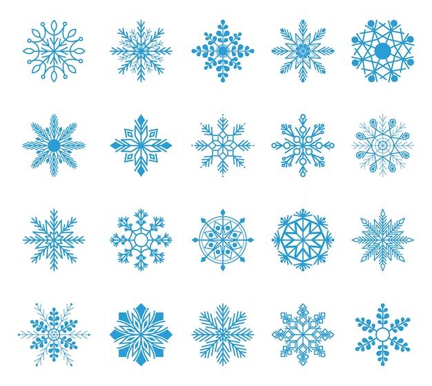 Conjunto de flocos de neve. elemento de cristal do floco de neve de natal azul inverno. coleção de gelo de ilustração do tempo.