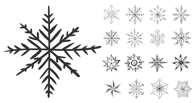 Conjunto de flocos de neve em doodle para desenho de inverno flocos de neve mão desenhada natal natal rabisco