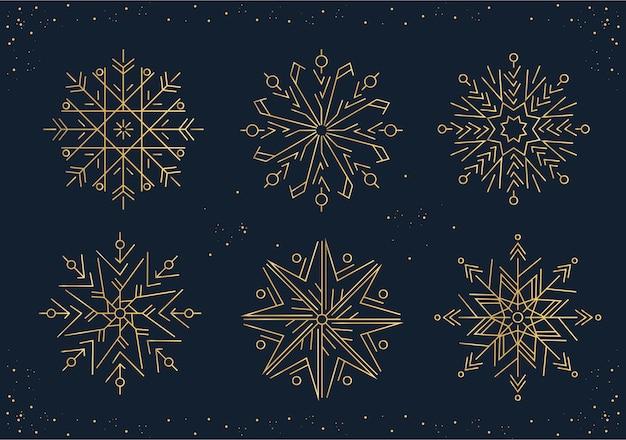 Conjunto de flocos de neve em estilo de linha.