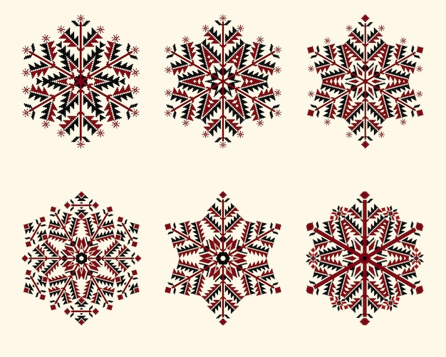 Conjunto de flocos de neve. flocos de neve elegantes para o natal e ano novo design.