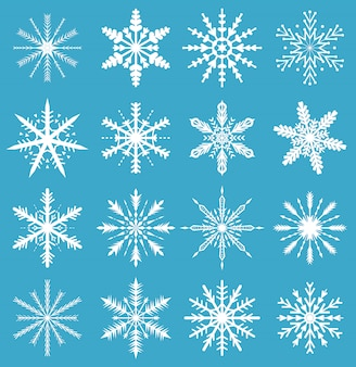Conjunto de flocos de neve. ícones para o fundo de natal. ilustração