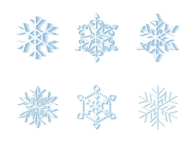 Conjunto de flocos de neve isolado em ilustração de fundo branco