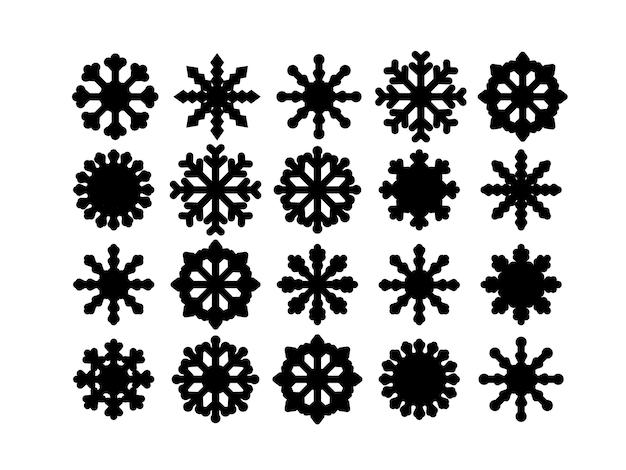 Conjunto de flocos de neve isolado no fundo branco.