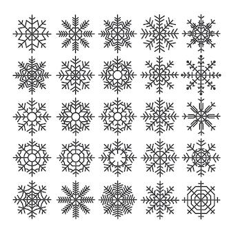 Conjunto de flocos de neve. pacote de modelos de flocos de neve. elementos de decoração de inverno.