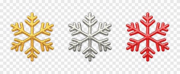 Conjunto de flocos de neve prata espumante dourada e flocos de neve vermelhos com textura de glitter isolados