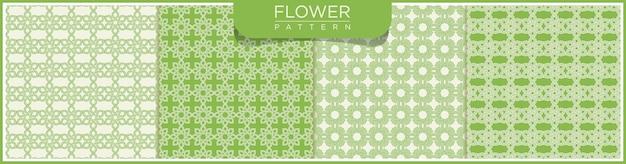 Conjunto de flor abstrata vetor linha sem costura padrão. fundo branco e verde com ornamentos árabes.