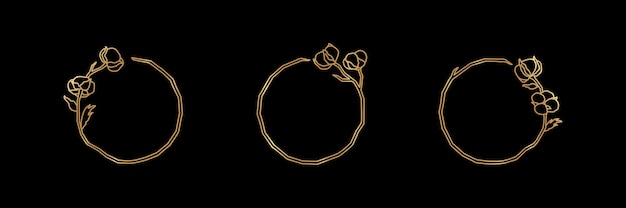 Conjunto de flor de algodão e emblema e ícone de moldura de ouro de ramo em estilo linear moderno - logotipo vetorial de algodão - pode ser usado modelo para embalagem de cosméticos, alimentos orgânicos, casamento, florista, mestres artesanais