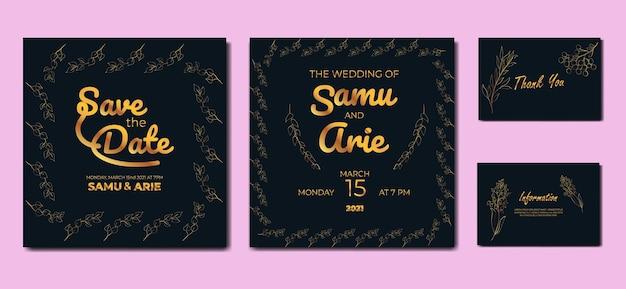 Conjunto de flor de casamento desenho de linha