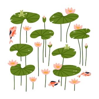Conjunto de flor de lótus e folha de lótus coleção de folhas de lírio de vista lateral com peixes koi desenhados à mão