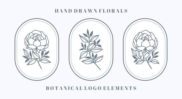 Conjunto de flor de peônia botânica azul e elemento de folha para logotipo e marca de beleza feminina