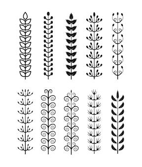 Conjunto de flor de ramo de folha desenhada à mão com forma diferente em fundo branco.