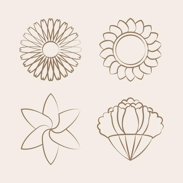 Conjunto de flor desabrochando desenho desenho vetorial