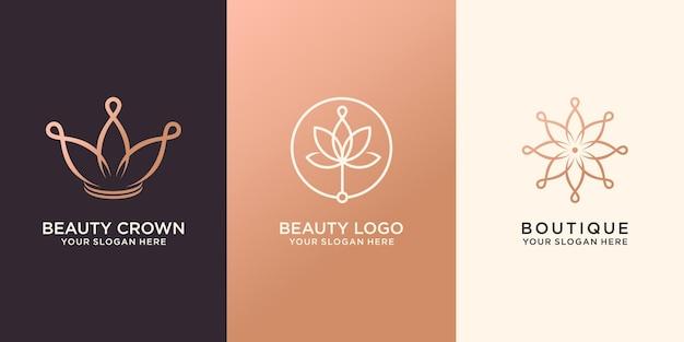Conjunto de flor e coroa abstratas, logotipo premium vector
