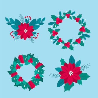 Conjunto de flor e grinalda de natal de design plano