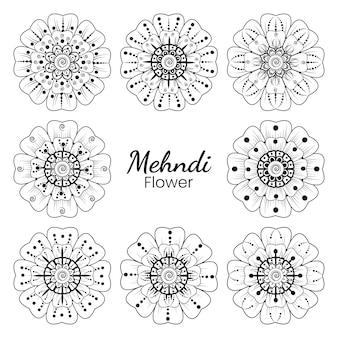 Conjunto de flor mehndi em estilo oriental étnico doodle mão desenhar ilustração página de livro para colorir