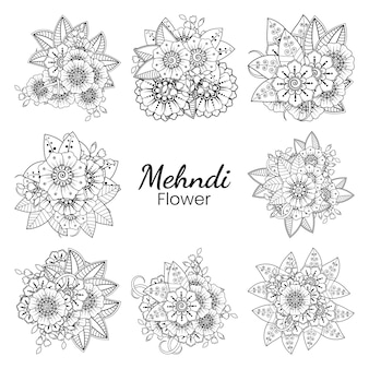 Conjunto de flor mehndi em estilo oriental étnico doodle ornamento contorno mão desenhar ilustração página do livro para colorir
