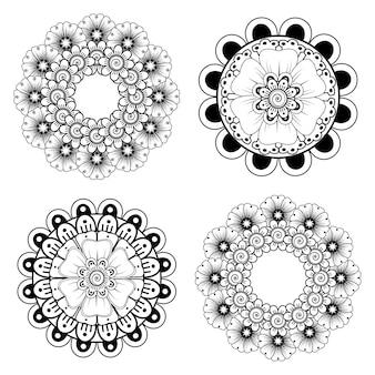 Conjunto de flor mehndi em estilo oriental étnico para colorir