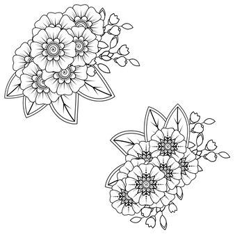 Conjunto de flor mehndi. ornamento decorativo em estilo oriental étnico. ornamento do doodle. esboço mão desenhar ilustração.