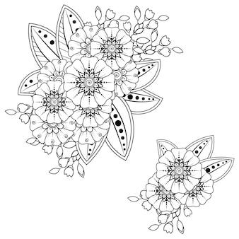 Conjunto de flor mehndi para henna, mehndi, tatuagem, decoração. ornamento decorativo em estilo oriental étnico. ornamento do doodle. esboço mão desenhar ilustração. página do livro para colorir.