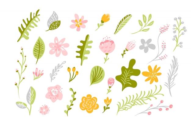 Conjunto de flor plana isolada de vetor