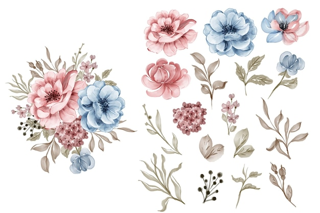 Conjunto de flor rosa azul e clip-art isolado de folhas