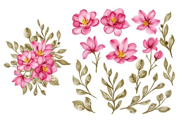 Conjunto de flor rosa bordô e clip-art isolado de folhas