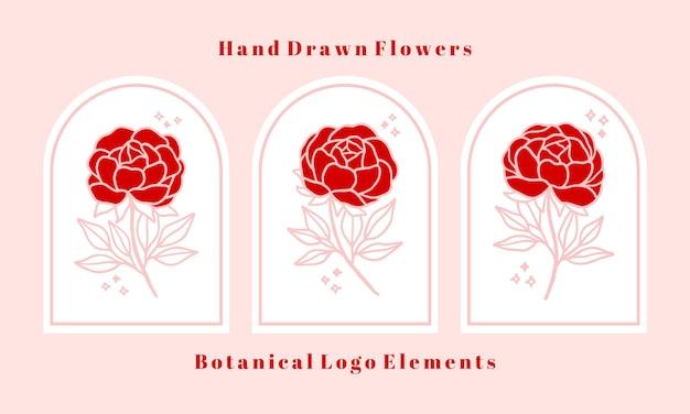 Conjunto de flor rosa botânica rosa desenhada à mão, peônia e elementos de ramo de folha para logotipo feminino e marca de beleza