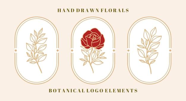 Conjunto de flor rosa botânica vintage e elemento folha para logotipo e marca de beleza feminina