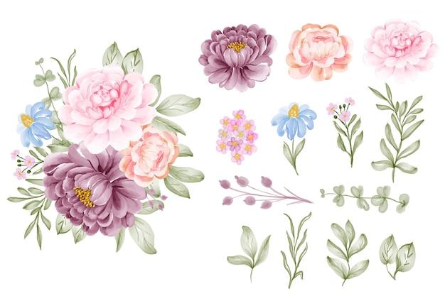 Conjunto de flor rosa roxa e clip-art isolado de folhas