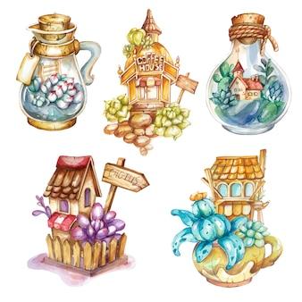 Conjunto de florário de aquarela e cacto