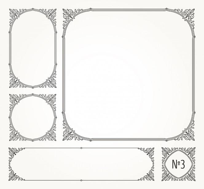 Conjunto de floreios caligráficos elegantes quadros ornamentais e bordas - ilustração.