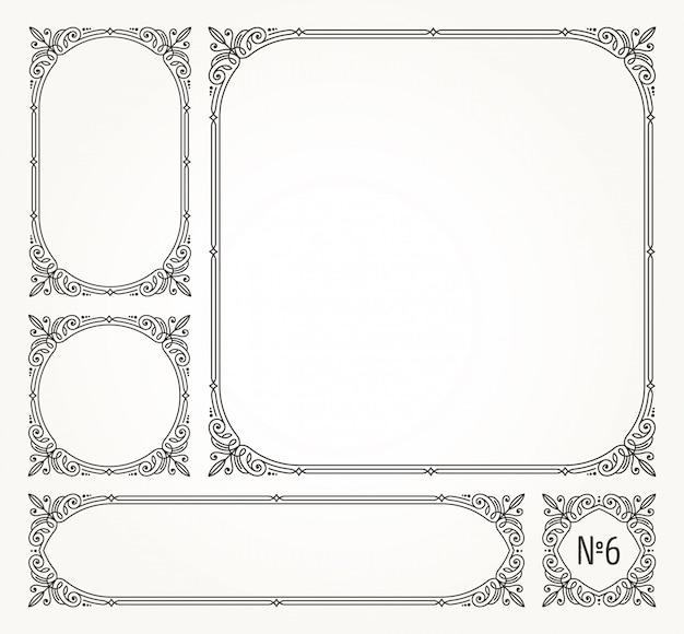 Conjunto de floreios caligráficos elegantes quadros ornamentais e bordas - ilustração. Vetor Premium